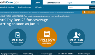 Screen grab of http://www.Healthcare.gov.
