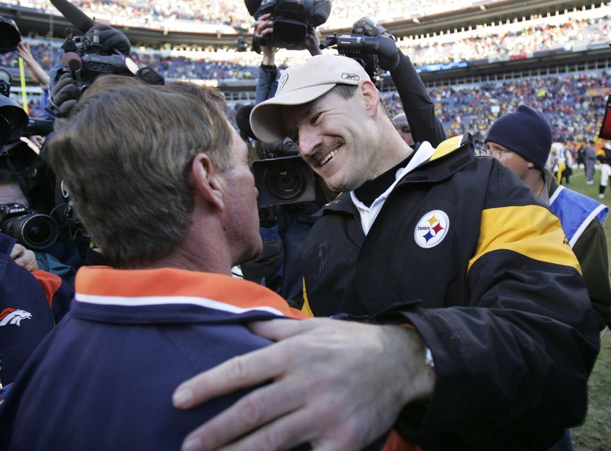 Pittsburgh Steelers head coach Bill Cowher, right, greets Denver Broncos head coach Mike Shanahan after the Steelers won 34-17 in the AFC Championship football game Sunday, Jan. 22, 2006, in Denver. The Steelers advanced to Super Bowl XL with the win.  (AP Photo/Charles Krupa)