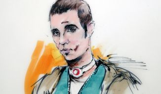 ** FILE ** This courtroom drawing shows Paul Ciancia during an appearance at the West Valley Detention Center wearing a bandage on his neck and with bruises on his face on Wednesday, Dec. 4, 2013, in Rancho Cucamonga, Calif. Ciancia has been charged with killing a Transportation Security Administration officer and wounding three others during a rampage at Los Angeles International Airport. (AP Photo/Bill Robles)