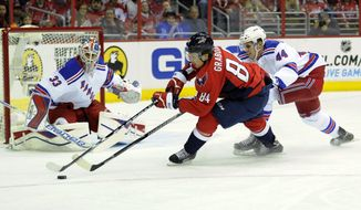 New York Rangers defenseman Justin Falk (44) battles for the puck against Washington Capitals center Mikhail Grabovski (84), of Germany, during the first period an NHL hockey game, Friday, Dec. 27, 2013, in Washington. Also seen is Rangers goalie Cam Talbot (33). (AP Photo/Nick Wass)
