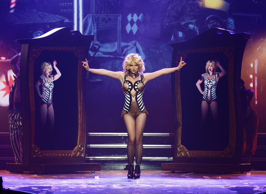 """In this photo provided by Caesars Entertainment, Britney Spears rehearses """"Britney: Piece of Me"""" at Planet Hollywood Resort & Casino on Thursday, Dec. 26, 2013, in Las Vegas. Spears began her two-year Las Vegas casino residency Friday. (AP Photo/Caesars Entertainment, Denise Truscello)"""