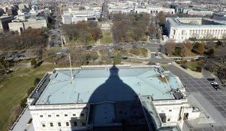 ** FILE ** This Dec. 19, 2013, file photo shows the shadow of the Capitol Dome cast onto the Senate side of Capitol Hill in Washington. (AP Photo/Susan Walsh, File)
