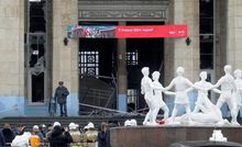 Target: An entrance to the Volgograd railway station in Russia is cordoned off Sunday after an attack by a suicide bomber, suspected to be a woman. The bombing killed at least 15 people, injured dozens and raised concern about terrorism ahead of the Winter Olympics in Sochi. (Associated Press)
