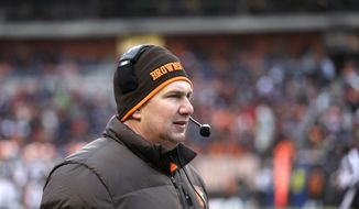 Cleveland Browns head coach Rob Chudzinski watches during an NFL football game against the Chicago Bears Sunday, Dec. 15, 2013, in Cleveland. (AP Photo/Tony Dejak)