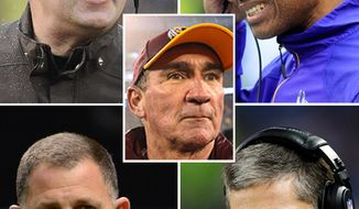 NFL head coaches fired by their respective teams. Washington Redskins Mike Shanahan, Minnesota Vikings Leslie Frazier, Cleveland Browns Rob Chudzinski, Tampa Bay Buccaneers Greg Schiano, Detroit Lions Jim Schwartz.