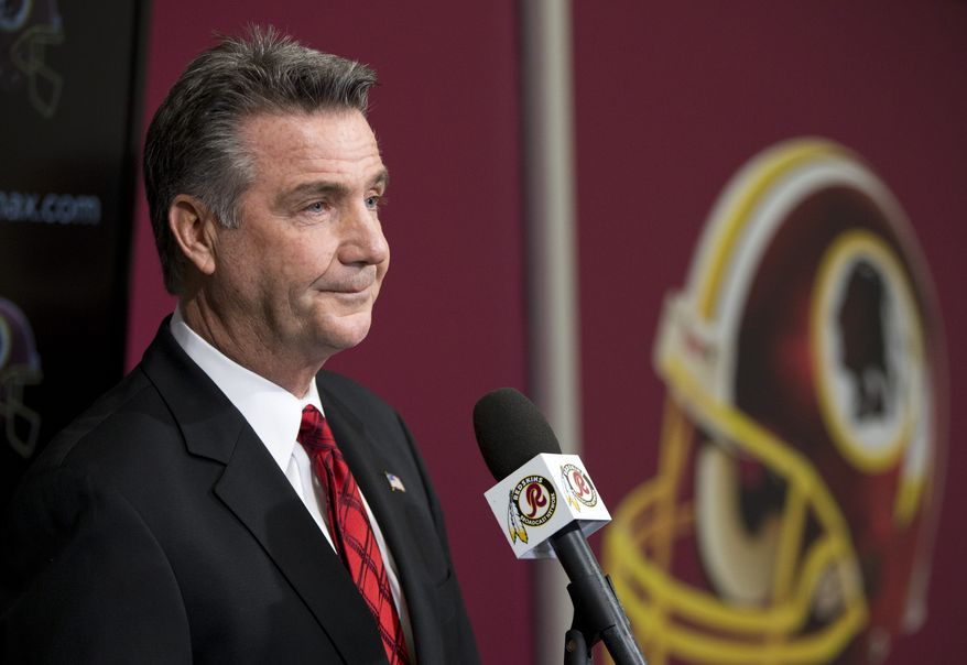 Washington Redskins Executive Vice President and General Manager Bruce Allen listens to a question during a news conference after the firing of head coach Mike Shanahan at Redskins Park on Monday, Dec. 30, 2013, in Ashburn, Va. The Redskins fired Shanahan on Monday after a 3-13 season.(AP Photo/ Evan Vucci)