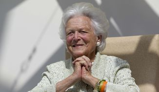 FILE - In this Thursday, Aug. 22, 2013 file photo, former first lady Barbara Bush listens to a patient's question during a visit to the Barbara Bush Children's Hospital at Maine Medical Center in Portland, Maine. Former first lady Barbara Bush has been hospitalized in Houston with a respiratory-related issue, Tuesday, Dec. 31, 2013.  A statement Tuesday night from the office of her husband, former President George H.W. Bush, said she was admitted to Houston Methodist Hospital on Monday. (AP Photo/Robert F. Bukaty, File)