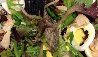 Photo of dead frog found in Pret A Manger salad on 47th Street and Sixth Avenue in New York City. (Instagram/ WSJ editor Kathryn Lurie)