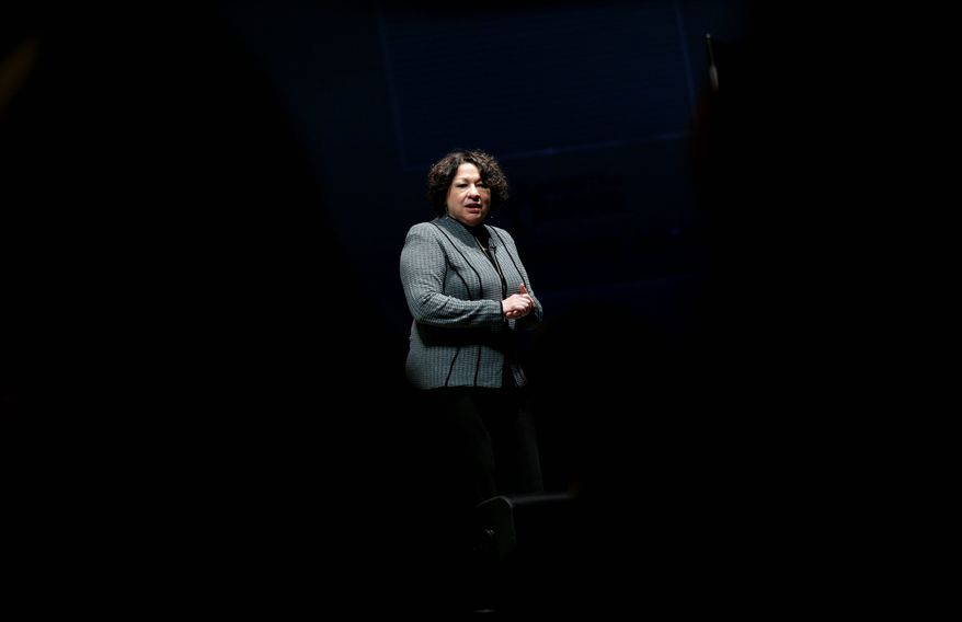 "U.S. Supreme Court Justice Sonia Sotomayor speaks about her best-selling memoir, ""My Beloved World,"" during an appearance at the University of Delaware in Newark, Del., Thursday, Sept. 19, 2013. (AP Photo/Patrick Semansky)"