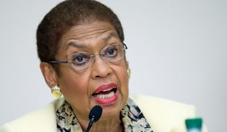 """[T]he NRA and their acolytes underestimate our residents if they think this city will tolerate autocratic rule from Congress,"" said Del. Eleanor Holmes Norton, District Democrat, in response to a bill that would do away with D.C.'s ban on semiautomatic rifles and gut other gun restrictions. (ASSOCIATED PRESS PHOTOGRAPHS)"