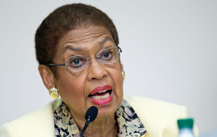"""""""[T]he NRA and their acolytes underestimate our residents if they think this city will tolerate autocratic rule from Congress,"""" said Del. Eleanor Holmes Norton, District Democrat, in response to a bill that would do away with D.C.'s ban on semiautomatic rifles and gut other gun restrictions. (ASSOCIATED PRESS PHOTOGRAPHS)"""