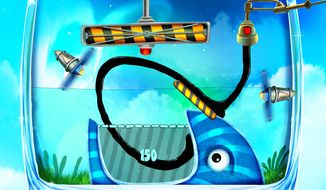 Players control a stream of crude in the iPad puzzle game Feed Me Oil 2.