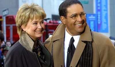 "This Jan. 14, 2002, file photo, shows former NBC ""Today"" show co-hosts Jane Pauley, left, and Bryant Gumbel, during the morning show's 50th anniversary in New York. (AP Photo/Stuart Ramson, File)"