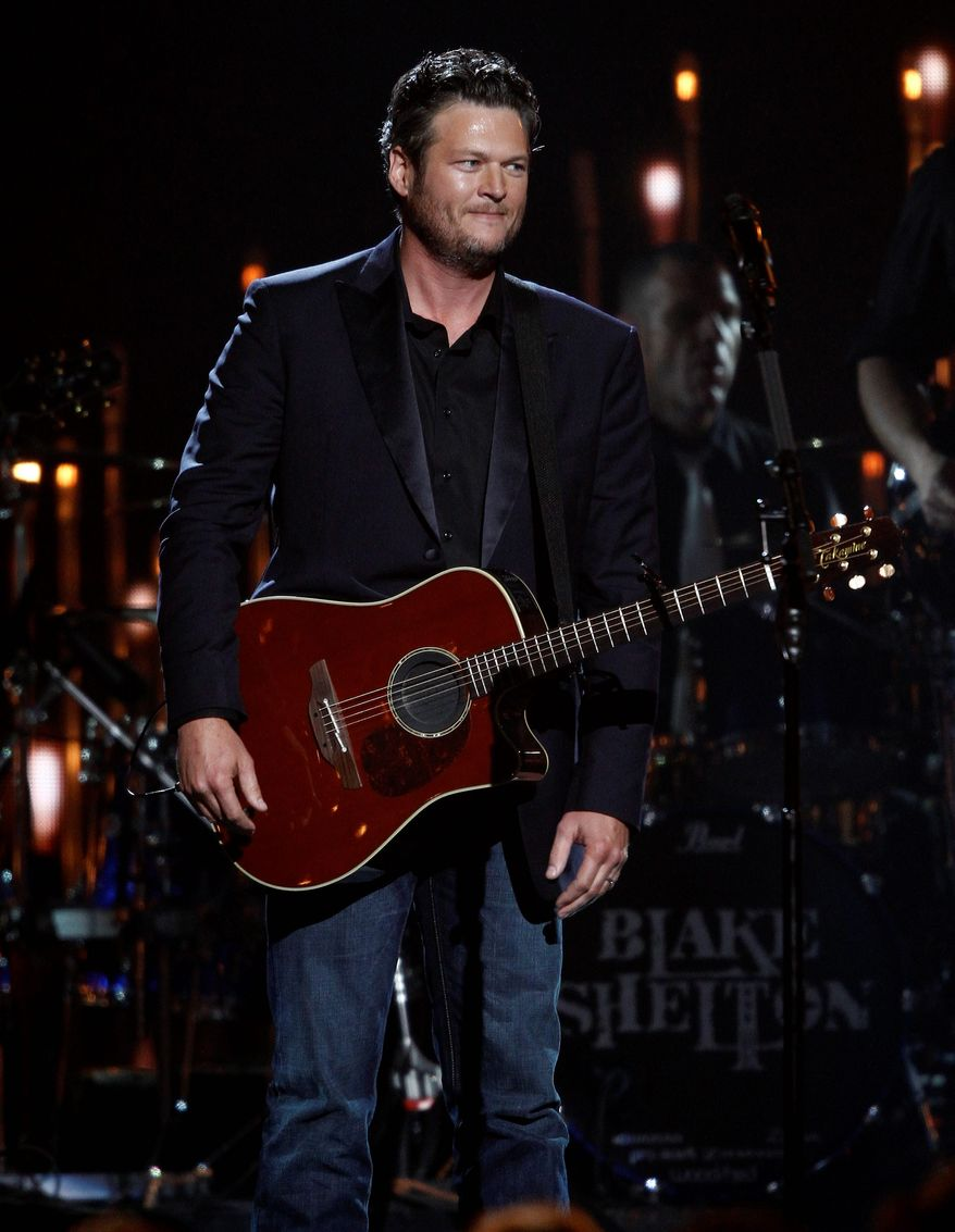 Blake Shelton (above), Luke Bryan (top center), Jason Aldean (top right) and Florida Georgia Line are some of the new stars giving the country music establishment a run for its money. (Associated Press photographs)