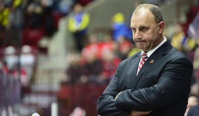 Canada's coach Brent Sutter reacts on the final whistle of the World Junior Hockey Championships semifinal between Canada and Finland  at Malmo Arena in Malmo, Sweden on Saturday, Jan. 4, 2014. (AP Photo / TT News Agency / Ludvig Thunman)  SWEDEN OUT