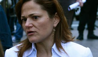 City Council Member Melissa Mark-Viverito speaks to a camera crew at Zuccotti Park, OWS epicenter, in New York on Monday, March 18, 2012. (Wikimedia Commons: NYCity News Service)