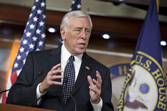 FILE - In this Dec. 5, 2013 file photo House Minority Whip Steny Hoyer of Md. speaks during a news conference on Capitol Hill in Washington. Congress returns to work on Jan. 6, 2014, with election-year politics certain to shape an already limited agenda. (AP Photo/J. Scott Applewhite, File)