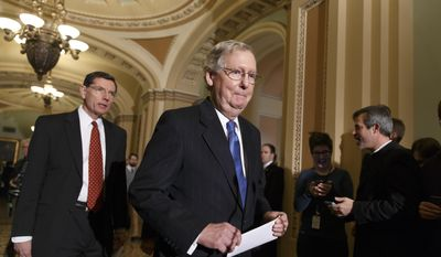Senate Minority Leader Mitch McConnell, of Ky., right, accompanied by Sen. John Barrasso, R-Wyo., the Republican Policy Committee chairman, arrives to tell reporters that Senate Majority Leader Harry Reid of Nev., and his political tactics are almost entirely responsible for making the Senate dysfunctional, following a procedural vote on legislation to renew jobless benefits for the long-term unemployed, Tuesday, Jan. 7, 2014, on Capitol Hill in Washington.  (AP Photo/J. Scott Applewhite)