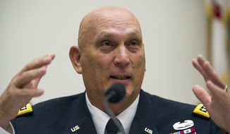 FILE - This Sept. 18, 2013 file photo shows Army Chief of Staff Gen. Ray Odierno testifying on Capitol Hill in Washington. Odierno, who led U.S. forces in Iraq through some of the most deadly years of the war says he opposes sending U.S. combat troops back to Iraq in response to the recent gains there by Islamic militants. (AP Photo/Cliff Owen, File)