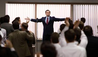 "This film image released by Paramount Pictures shows Leonardo DiCaprio as Jordan Belfort in a scene from ""The Wolf of Wall Street."" The film was nominated for a Directors Guild award on Tuesday, Jan. 7, 2014. The winners will be announced on Jan. 25. (AP Photo/Paramount Pictures, Mary Cybulski)"
