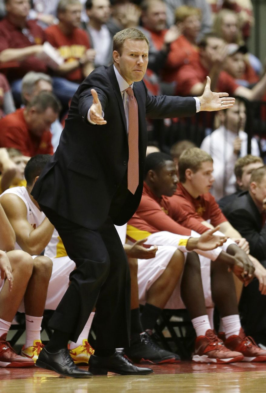 Iowa State head coach Fred Hoiberg reacts to a call during the first half of an NCAA college basketball game against Baylor, Tuesday, Jan. 7, 2014, in Ames, Iowa. (AP Photo/Charlie Neibergall)