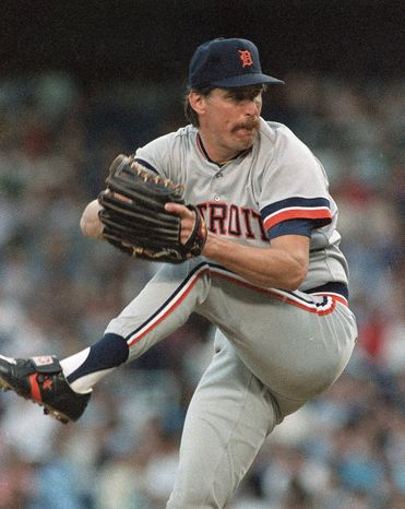FILE - In this June 27, 1988, file photo, Detroit Tigers' Jack Morris pitches against the New York Yankees in New York. This is the last year Morris is eligible to be voted into the Hall of Fame by the Baseball Writers Association of America, and the former stalwart starting pitcher with three World Series rings faces a tough final hurdle to clear with newcomers Greg Maddux, Tom Glavine and Mike Mussina joining him on the ballot. Morris came close in 2013, with 67.7 percent approval. (AP Photo/Mark Lennihan, File)