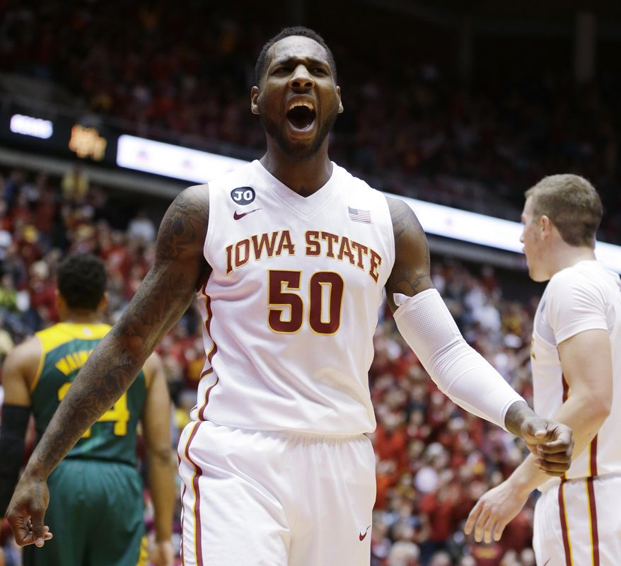 Iowa State guard DeAndre Kane reacts after making a basket during the first half of an NCAA college basketball game against Baylor, Tuesday, Jan. 7, 2014, in Ames, Iowa.   Kane scored 30 points as Iowa State won 87-72. (AP Photo/Charlie Neibergall)