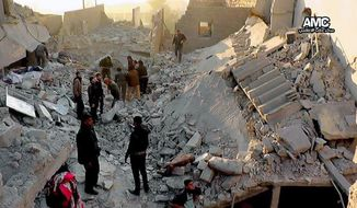 In this Monday, Jan. 6, 2014 citizen journalism image provided by Aleppo Media Center, AMC, which has been authenticated based on its contents and other AP reporting, Syrians inspect the rubble of destroyed buildings following a Syrian government airstrike in Aleppo, Syria. Syrian rebel groups battled one another Monday for control of a provincial capital, part of a vicious round of score settling targeting an al-Qaida affiliate that gained stature fighting President Bashar Assad but alienated many by imposing strict Islamic law. (AP Photo/Aleppo Media Center AMC)