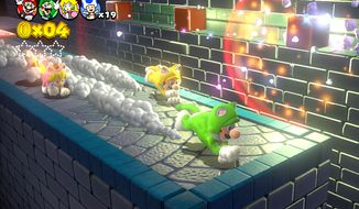 Mario and his pals can wear cat costumes in Nintendo's Wii U video game Super Mario 3D World.