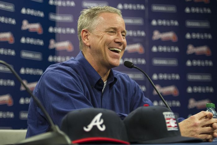 Former Atlanta Braves player Tom Glavine speaks with members of the media during a news conference at Turner Field after being elected to the baseball's Hall of Fame on Wednesday, Jan. 8, 2014, in Atlanta. Also elected were former Braves teammate Greg Maddux and Frank Thomas