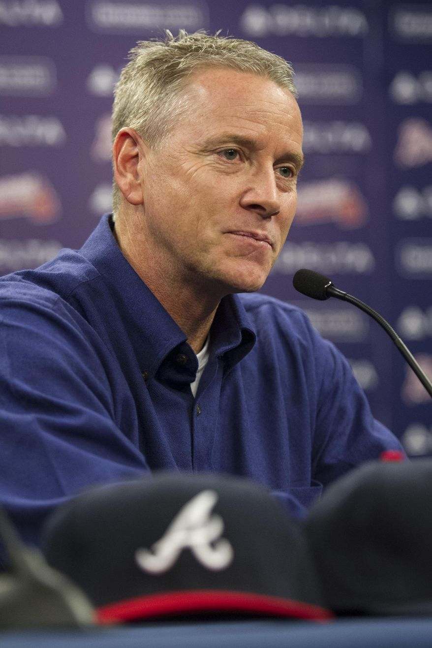 Former Atlanta Braves player Tom Glavine speaks with members of the media during a news conference at Turner Field after being elected to the baseball's Hall of Fame on Wednesday, Jan. 8, 2014, in Atlanta. Also elected were former Braves teammate Greg Maddux and Frank Thomas, who will all join managers Bobby Cox, Joe Torre, and Tony La Russa in the next induction. (AP Photo/John Amis)