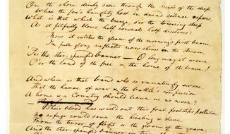This undated handout image provided by the Maryland Historical Society shows the 1814 Star-Spangled Banner manuscript by Francis Scott Key. (AP Photo/The Maryland Historical Society)