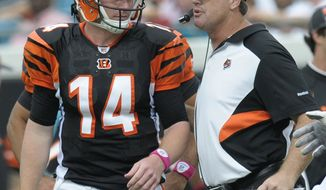 FILE - In this Oct. 9, 2011 file photo, Cincinnati Bengals offensive coordinator Jay Gruden, right, gives instructions to quarterback Andy Dalton (14) during the second half of an NFL football game against the Jacksonville Jaguars,  in Jacksonville, Fla. Cincinnati is tied for first place in the AFC North heading into a showdown with Pittsburgh.   (AP Photo/Phelan M. Ebenhack, File)
