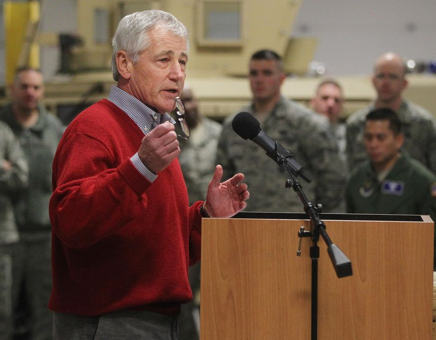 Defense Secretary Chuck Hagel speaks with airmen of the 20th Air Force 90th Missile Wing during a trip to F.E. Warren Air Force Base on Thursday, Jan. 9, 2014 in Cheyenne, Wyo. It was the first time since 1982 that a defense secretary has visited the nuclear missile base. (AP Photo/Wyoming Tribune Eagle, Blaine McCartney)