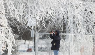 A tourist takes a photograph of the winter wonderland created by freezing mist from Niagara Falls in Niagara Falls State Park, Niagara Falls, N.Y. on Thursday, Jan. 9, 2014.  Niagara Falls hasn't frozen over, but it has become an icy spectacle, thanks to a blast of arctic wind and cold that blew around and froze the mist on surfaces and landscaping. Despite the urban legends, Niagara Falls doesn't freeze solid in the winter, tourism officials say.  A section of the American Falls, one of three waterfalls that make up the natural attraction, has frozen. The Niagara River rapids and larger Horseshoe Falls continue to flow unimpeded. (AP Photo/The Buffalo News, Sharon Cantillon)  MANDATORY CREDIT