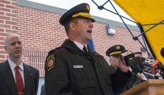 ** FILE ** Pennsylvania State Police Capt. Steven Junkin speaks during a news conference, Friday, Jan, 10, 2014, in Chambersburg, Pa. (AP Photo/The Republican-Herald, Joshua Vaughn)