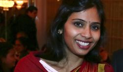 ** FILE ** In this Dec. 8, 2013, file photo, photo shows Devyani Khobragade, who served as India's  deputy consul general in New York, during the India Studies Stony Brook University fund raiser event at Long Island, New York. In a move that could cool a smoldering diplomatic dispute, the U.S. allowed Khobragade to leave the country Friday after she was indicted by a U.S. federal grand jury, giving both countries a way to claim victory. (AP Photo/Mohammed Jaffer, File)