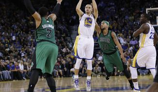 Golden State Warriors' Stephen Curry (30) makes a three-point basket over Boston Celtics' Jared Sullinger (7) and Jerryd Bayless (11) during the second half of an NBA basketball game on Friday, Jan. 10, 2014, in Oakland, Calif.  Golden State won 99-97. (AP Photo/Marcio Jose Sanchez)