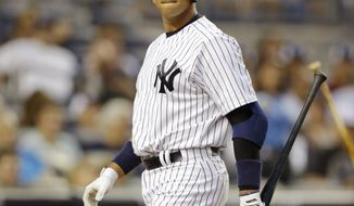 FILE - In this Aug. 20, 2013 file photo, New York Yankees Alex Rodriguez reacts after striking out in the second inning of the second game of a baseball doubleheader at Yankee Stadium in New York. Rodriguez's drug suspension has been cut to 162 games from 211 by arbitrator Fredric Horowitz, a decision sidelining the New York Yankees third baseman the entire 2014 season.  (AP Photo/Kathy Willens)