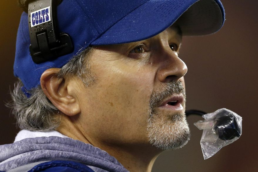 Indianapolis Colts head coach Chuck Pagano watches the action from the sidelines during the second half of an AFC divisional NFL playoff football game against the New England Patriots in Foxborough, Mass., Saturday, Jan. 11, 2014. (AP Photo/Michael Dwyer)