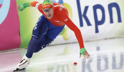 Jan Blokhuijsen of The Netherlands competes during the men's 500 m in the Speed Skating All Round European Championships in Hamar, Norway, Saturday, Jan. 11, 2014. (AP Photo/NTB Scanpix, Terje Bendiksby) NORWAY OUT