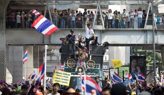 Blockade: Protesters halt much of the traffic in Bangkok's central business district as part of a campaign to overthrow the Thai prime minister. (ASSOCIATED PRESS)