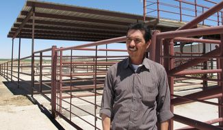 FILE - In this April 15, 2013, file photo, Valley Meat Co. owner, Rick De Los Santos stands in a corral area outside the former cattle slaughterhouse he has converted to a horse slaughter facility in Roswell, N.M. A judge in Santa Fe is expected to decide Monday, Jan. 13, 2014, whether the Roswell company can start slaughtering horses. State District Judge Matthew Wilson is hearing a request from Attorney General Gary King to issue a preliminary injunction against Valley Meat Co. King has filed suit against the company, alleging its operations would violate state environmental and food safety laws. (AP Photo/Jeri Clausing, File)