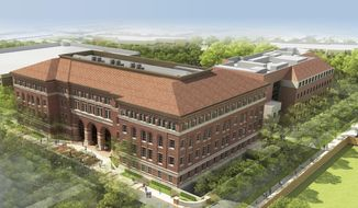 This artist's rendering provided by the University of Southern California shows the proposed bioscience center, to be built with  $50 million to be donated by Gary K. Michelson, the school announced Monday, Jan. 13, 2014. (AP Photo/USC)