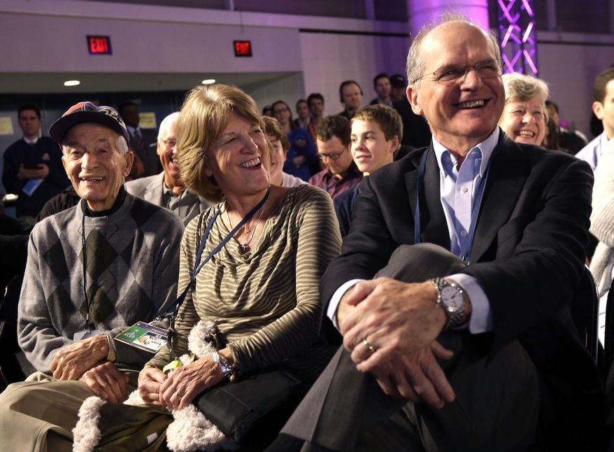 FILE - In this Feb. 1, 2013 file photo, Jack and Jackie Harbaugh, parents of brothers Jim Harbaugh, head coach for the San Francisco 49ers, and John Harbaugh, head coach for the Baltimore Ravens, and Joe Cipiti, left, the brothers' grandfather, listen to them speak at a news conference in New Orleans. Cipiti died on Sunday, Jan. 12, 2014, in Ohio. He was 98. (AP Photo/Gerald Herbert, File)