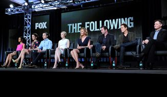 "From left, Tiffany Boone, Jessica Stroup, Sam Underwood, Valorie Curry, Connie Nielson, James Purefoy, Kevin Bacon, and creator Kevin Williamson are seen during the panel for ""The Following"" at the FOX Winter 2014 TCA, on Monday, Jan. 13, 2014, at the Langham Hotel in Pasadena, Calif. The two stars of Fox's creepy thriller ""The Following"" admit that their show gives them nightmares. Bacon and Purefoy both said today that the characters stick with them after work. (Photo by Richard Shotwell/Invision/AP)"