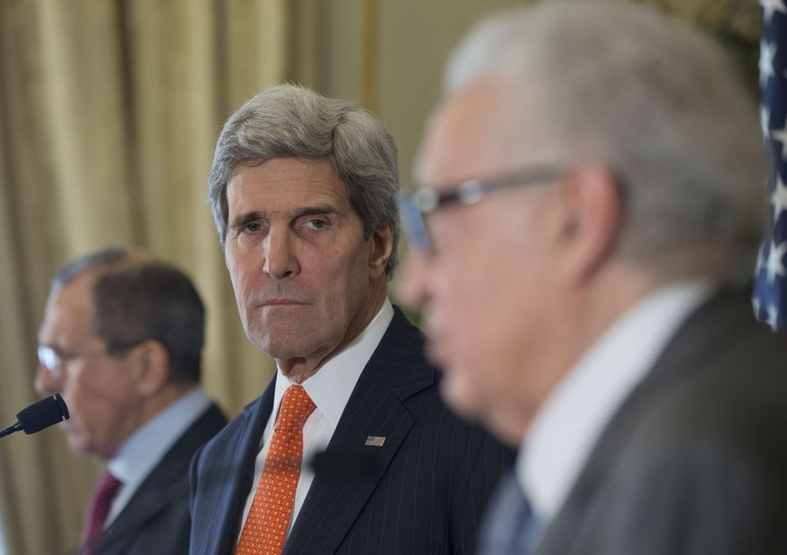 U.S. Secretary of State John Kerry, center, with Russia's Foreign Minister Sergey Lavrov, left, and U.N-Arab League envoy for Syria Lakhdar Brahimi, right, attend a joint news conference at the US Ambassador's residence in Paris, France, Monday, Jan. 13, 2014. Kerry is in Paris for meetings on Syria to rally international support for ending the three-year civil war in Syria. (AP Photo/Pablo Martinez Monsivais, Pool)
