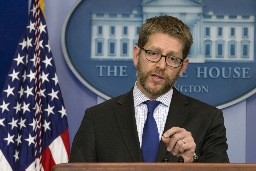 White House press secretary Jay Carney speaks during his daily news briefing, where he answers questions including on Iraq and Iran, at the White House in Washington, Monday, Jan. 13, 2014. (AP Photo/Jacquelyn Martin)