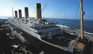 """The reconstruction of the RMS Titanic built at Fox Baja Studios for the 1997 film """"Titanic."""" (Wikipedia)"""