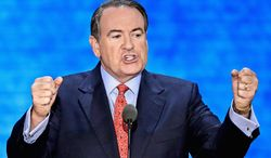 """Mike Huckabee advises Republicans that their biggest challenge is other Republicans, and calls for a moratorium on the term """"RINO."""" (associated press)"""